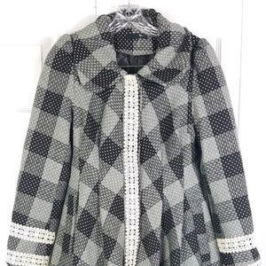 RYU gray black tweed fit & flare crochet trim coat